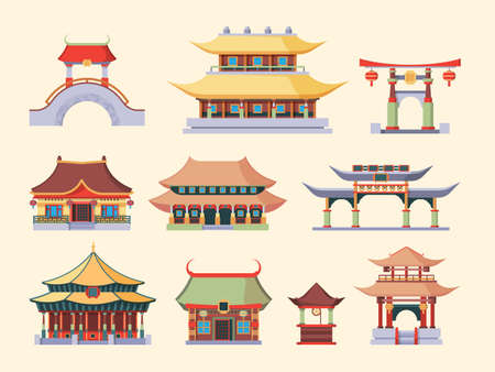 Traditional Asian palaces and temples set. Ancient Chinese style buildings two tiered roofed dragon tail arch bridges Japanese ritual pagodas Korean noble houses. Ethnic cartoon vector.