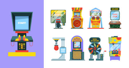 Game arcade machine set. Electronic gaming machine with joysticks screen laser pistol duel colorful entertainment retro consoles stationary devices checking strength good luck. Vector controller. Stock Illustratie