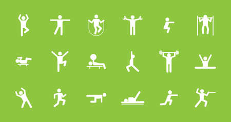Fitness and sports workout icons set. Exercises in gym and sports ground running pulling up on bar lifting weights jumping rope pictogram of fencer yoga complex squats. Symbolic vector.