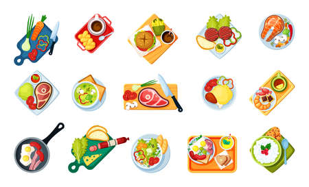 Cooking food with dishes top view set. Tasty menus fast food sliced salami with cheese fried salmon mushrooms vegetable soup chili and broccoli scrambled eggs bacon coffee. Cartoon vector.