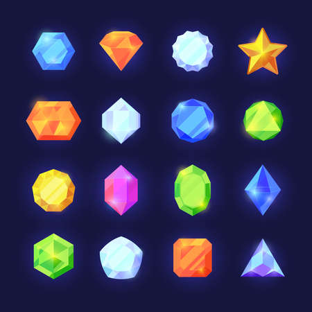 Crystals game color set. Mobile interface shiny jewelry of various geometric shapes blue diamonds orange sapphires green emeralds graphic treasure vibrant rich mobile interface. Vector cartoon glass.