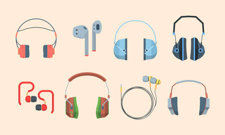 Headphones set. Stylish headset listening audio files and music special gamers streaming portable mobile for smartphones modern wireless excellent sound quality availability. Digital vector.