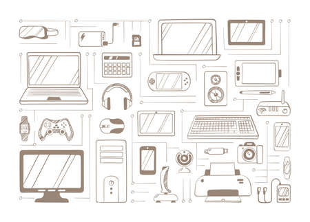 Electronic handdrawn gadgets sketches set. Devices headphones with virtual glasses gaming equipment drawn on paper squared laptop stationary PC joysticks keyboard. Doodle portable vector. Ilustração