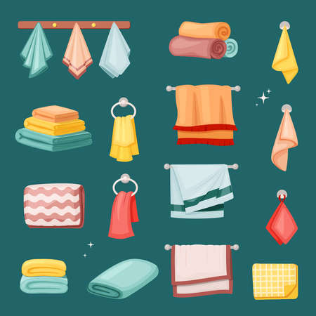 Bath towels and kitchen set. Textile colored fabric soft restaurants spa salons in hotels scented terry beach rough stacked wiping dishes bright fashion collection household. Vector cartoon art. Ilustração
