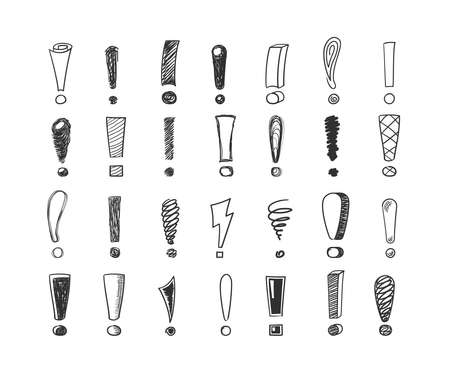 Exclamation marks handdrawn sketch set. Lightning idea swirling and in form symbols black informational attention made different geometric lines. Doodle vector.