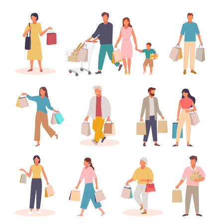 Characters with shopping set. People with paper bags and trolley returning from market family returns grocery supermarket elderly man bags both hands girl designer handbags. Cartoon vector. Vettoriali