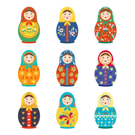 Matryoshka colored painted set. Folk traditional handmade toy wooden girl with colorful flower national Russian ornaments folklore ethnic Slavic symbol of birth cycle. Hohloma vector. Illustration