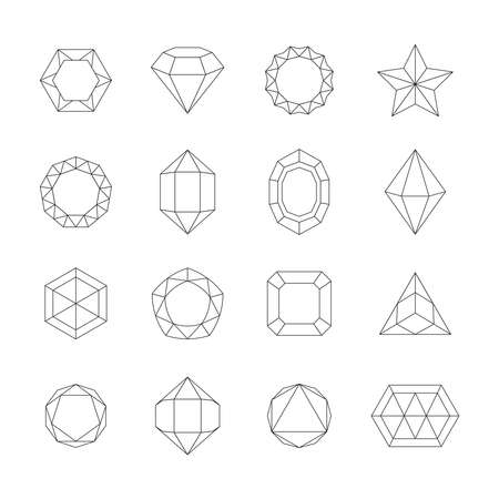 Geometric outline crystals set. Contours of jewelry stones minerals various abstract shapes pyramidal oval with convex edges triangular creative tracery for games mobile interfaces. Vector gem.