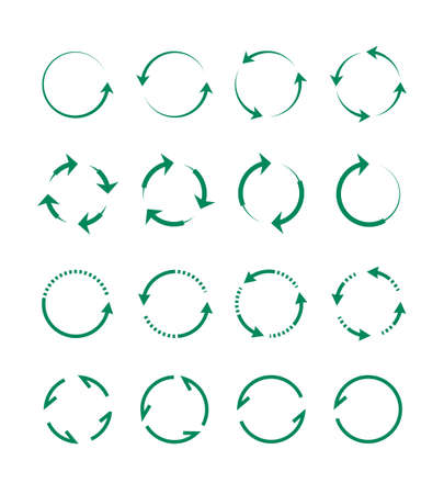 Circular and swirling arrows set. Green whirlpools from geometric lines directional indicators moving ornament of tips smooth transition with merging. Vector characters. Ilustrace