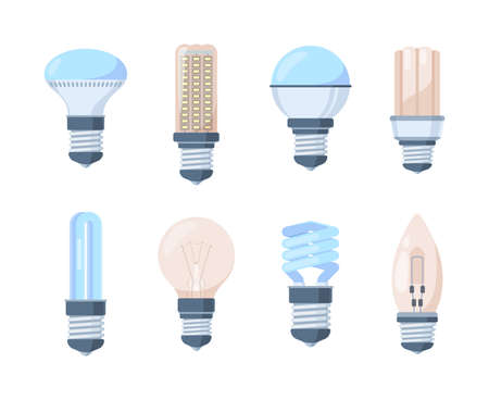 Light bulbs set. Fluorescent retro modern lamps innovative bright halogen spiral filament inertial gas glass plastic strong contours lighting technology in every home office. Flat vector idea.