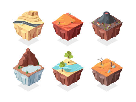 Isometric island game landscapes set. Red desert with cacti volcano with village house mountain lake and plants river with trees on side of road highway on rocky terrain. Vector cartoon platform.