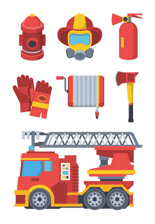 Firefighter service set. Fire extinguishing equipment outdoor water column mask with respirator protective gloves hydrant hose reel ax and specialized machine with ladder. Vector cartoon.