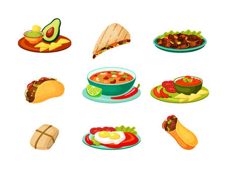 Mexican traditional food set. Spicy fresh vegetable meat cuisine burrito with spices guacamole green avocado hot quesadilla with chili and lemon tacos chicken fillet. National vector snacks.