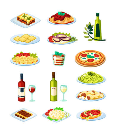 Traditional italian food set. Oysters with sauce white and red aged wine lasagna melted mozzarella cheese freshly baked ravioli and cannelloni margarita pizza tomatoes basil. Vector delightful.