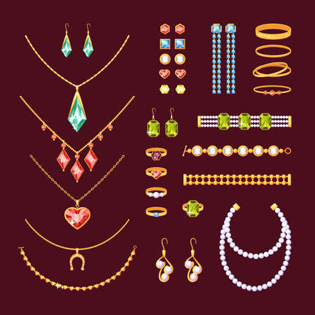 Jewelry items set. Fashionable necklaces with pearls ruby cufflinks rings bracelets tourmaline diamonds gold earrings pendants with topaz necklace emeralds and sapphires. Precious vector. Vettoriali