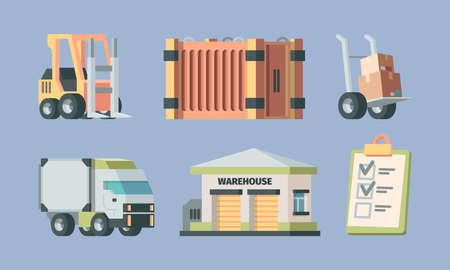 Warehouse logistics and transport set. Forklift next to large container wheelbarrow with crates delivery truck warehouse building delivery address list distribution goods. Vector service.