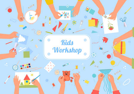 Handmade kids workshop creative illustration. Developing hobby for children active handicraft as fun art drawing colored applique making soft toys and weaving beaded bracelets. Vector create cartoon.