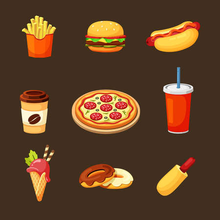 Fast food set. Delicious hot hamburger pepperoni pizza with salami crispy fries and aromatic hot dog freshly baked donuts with chocolate glaze fruit ice cream naturally brewed coffee. Hearty vector. Vector Illustration