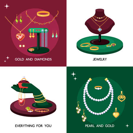 Jewelry accessories illustration set. Expensive jewelry made of gold and precious stones necklaces with pearls elegant vintage treasures topaz necklace with emeralds and sapphires. Diamond vector.