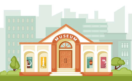 Museum building illustration. Historical exhibitions every week exhibitions of ice age and antiquity relics from middle ages renaissance cultural excursions by art gallery. Flat vector.