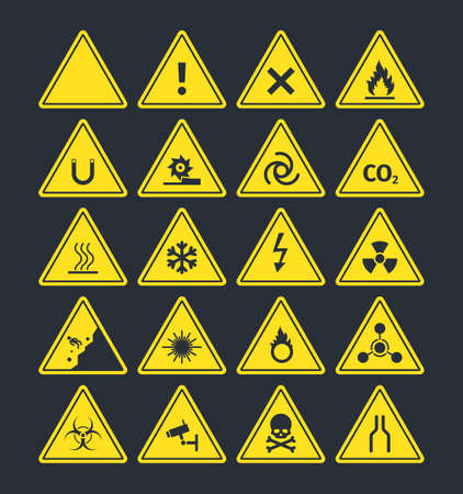 Road warning signs set. Triangular yellow symbols increased fire peril danger of loose soil radioactive alarm lethal electrical voltage ice deposit ahead biological hazard. Information vector.