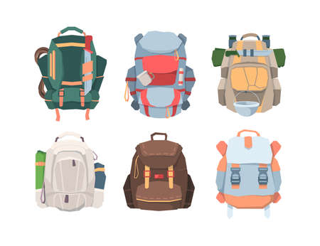 Camping backpacks set. Necessary equipment for tourism and travel colored and thick fabrics more things with hiking pot mug machete rope for passing jungle. Cartoon vector climbing.