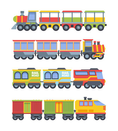 Toy trains set. Colorful game steam locomotive with wagons stylish retro and modern designs industrial vehicle entertainment transportation of goods containers. Cute cartoon vector.