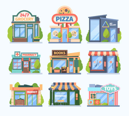 Stores and market set. Facade colored shops pharmacies retail outlets book galleries toy store food medicine sales city boutiques with showcases awnings modern small buildings. Cartoon vector.