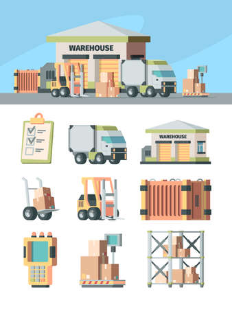 Logistics warehouse and transport set. Cargo scanner racks industrial scales with boxes forklift wheelbarrow with crates delivery truck delivery address list. Package vector.