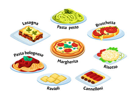 Italian traditional food set. Lasagna with melted mozzarella cheese freshly baked ravioli and cannelloni margarita pizza tomatoes basil bolognese pasta coriander pesto. Delightful vector menu.