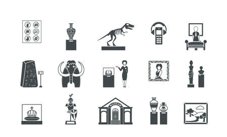 Museum historical silhouette set. Exhibitions of ice age and antique roman statues stuffed mammoth ancient golden crown painting by medieval artists armor weapons of knights. Flat silhouette vector.