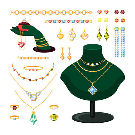 Jewelry set. Stylish rings bracelets with diamonds and rubies gold earrings pendants with pearls vintage expensive jewelry necklaces emeralds and sapphires. Cartoon precious vector.