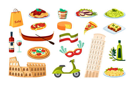 Italian culture set. Leaning tower of Pisa ancient roman coliseum gondola with paddle margarita pizza risotto olive scooter and national flagged wine and shopping bag. Travel cartoon vector. Иллюстрация