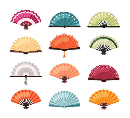 Asian fans set. Traditional oriental decoration colorful designs red orange Japanese accessories and blue green Chinese elegant folding bamboo object richly decorated. Cartoon color vector. Vettoriali