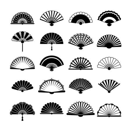 Fans silhouette set. Collection vintage oriental accessory with stylish Korean retro designs fashion Japanese elegant Chinese folding bamboo object richly decorated. Vector silhouette style . Vektorgrafik