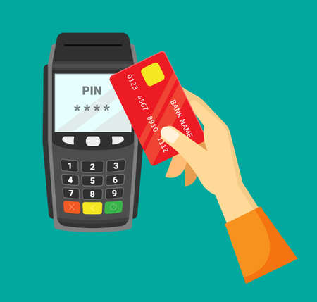 Payment via cash register illustration. Hand with red credit card conducts withdrawal from account convenient portable terminal quick online money settlement transactions deposits. Commercial vector.