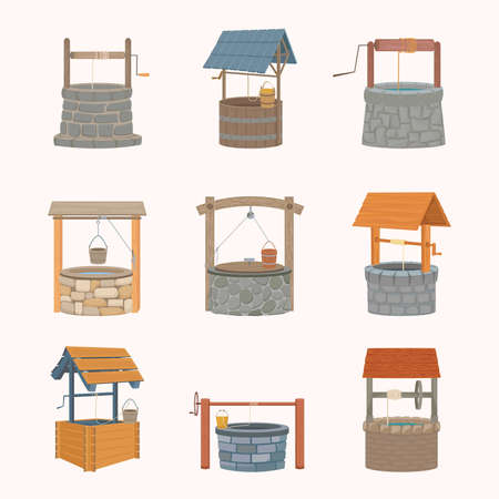 Water wells retro set. Antique stone wells faced marble coolness rustic wooden wells bucket on rope medieval with solid roof iron axle artificial deep well with source. Cartoon old vector. 向量圖像