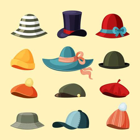 Caps and hats set. Trendy green baseball caps elegant purple top hat felt slouchy with curled brim miniature womens cloche retro homburg wide ribbon panama thick fabric. Cartoon vector design.