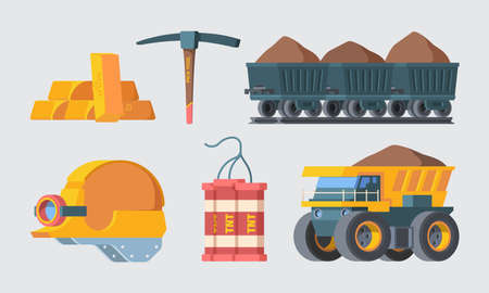 Mine quarry equipment set. Column trolleys filled with soil rock smelted gold ingots block TNT explosive charges powerful industry quarry cargo carrier filled with earth. Vector drilling. Иллюстрация
