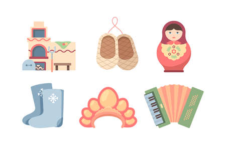Welcome to USSR set. Ethnic birch bark rounders russian village oven with tacks painted nesting doll felt boots womans headdress green accordion journey through soviet regime. Cartoon vector design.
