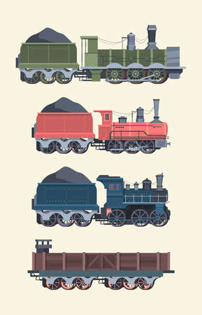 Retro steam locomotives set. Old steam powered trains coal trailers classic rail travel with smoke artistic color designs comfortable transportation symbol transport industry. Art cartoon vector. Иллюстрация