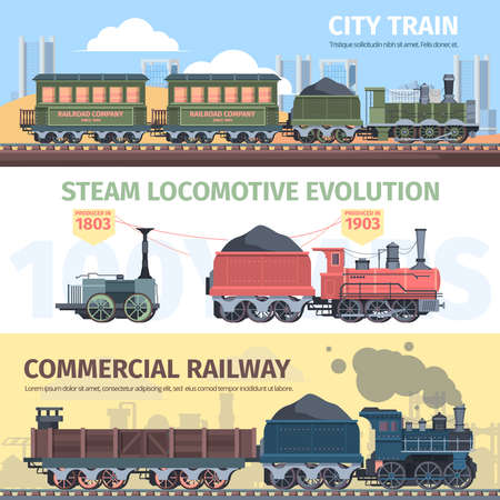 Steam locomotive industry development horizontal banner. Progress from first primitive steam devices to powerful passenger ones construction of railways allowing travel around world. Vector industry.
