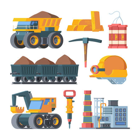 Quarry mine equipment set. Smelted gold ingots block TNT explosive excavator mining and ore processing plant charges powerful column trolleys filled with soil rock industry quarry. Vector industrial. Иллюстрация