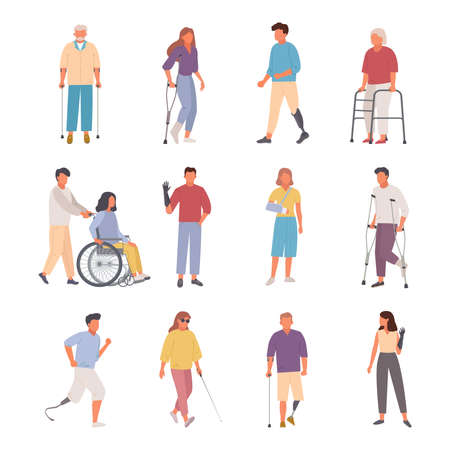 People with disabilities injuries set. Female character modern prosthetic arm nurse driving girl in wheelchair male characters running with leg prostheses blind woman walking. Cartoon vector support. Vector Illustration