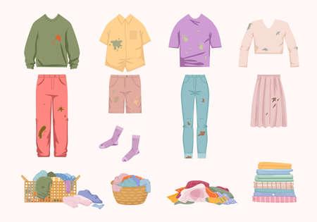 Dirty unwashed clothes set. Womens jacket with skirt green slime socks shorts tshirt with dog prints. Ilustração Vetorial