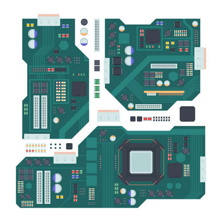 Computer motherboard illustration. Green panel with compartment for central processor capacitors and inputs connecting boards electronic microchips integrated semiconductors. Flat vector.