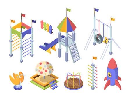 Rides playground color isometric set. Toy rocket obstacle course for kids slippers with wooden steps rainbow roof large sandbox with plastic cartoon mushroom mechanical carousel. Vector isometry.