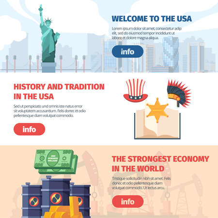 Welcome to USA horizontal banner. Traveling famous landmarks visiting major cities learning about american traditions culture powerful financial empire world economic strategy. Vector flat country.