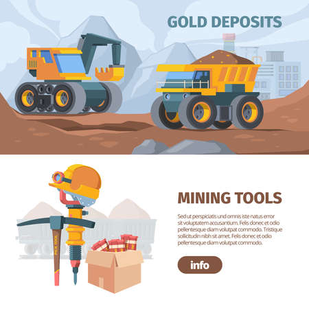 Mine development and equipment horizontal banner. Industrial quarrying with excavators and trucks drilling designing holes engineering explosives special mining equipment. Industrial vector.