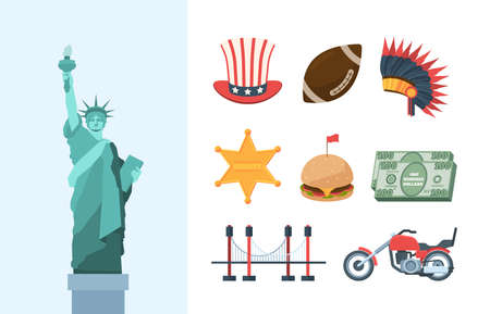United states america culture large set. Statue of liberty brooklyn steel bridge biker motorcycle burger with red flag golden sheriffs star rugby ball Indian feather headdress. Vector tourism. Ilustração